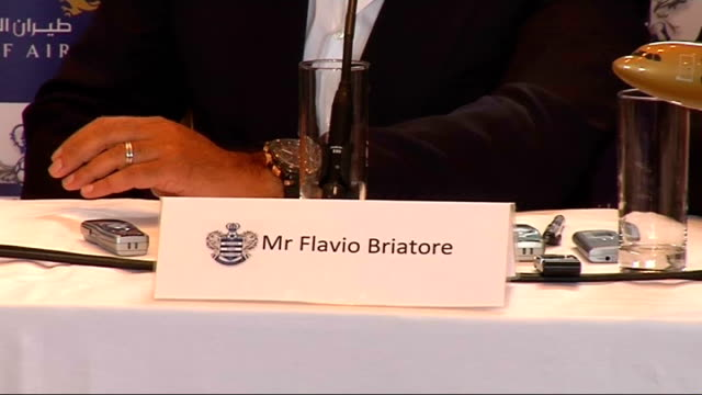 interview flavio briatore; panel introduced to press sot naf press conference sot - announces gulf air's three year sponsorship deal with queens park... - biggest stock videos & royalty-free footage