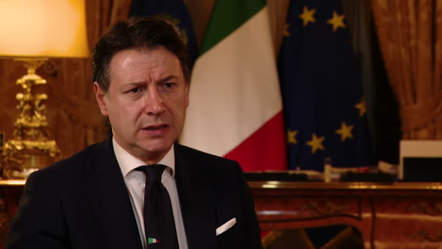 """interview giuseppe conte, italian prime minister, about the challenge of coronavirus to europe """"it's a big challenge to the history of europe and the... - primo ministro video stock e b–roll"""