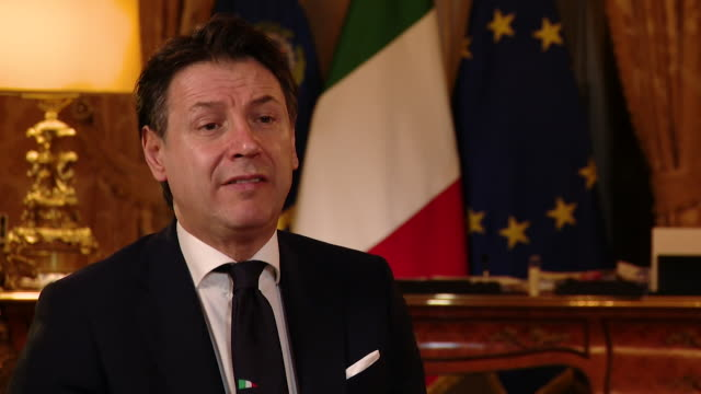 """interview giuseppe conte italian prime minister about the importance of testing for coronavirus performing tests means trying to bring this situation... - """"bbc news"""" video stock e b–roll"""