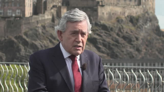 interview gordon brown, former labour prime minister, about boris johnson pm needing to take a less confrontational approach to the issue of scottish... - former stock videos & royalty-free footage