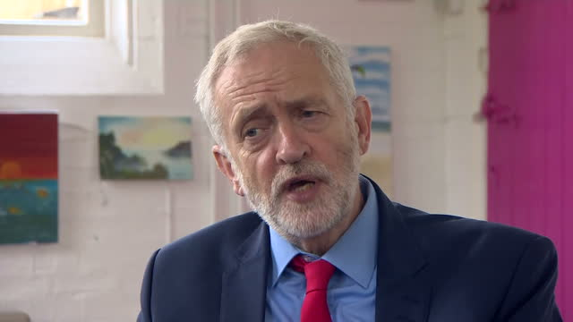 Interview grab with Labour Leader Jeremy Corbyn remarking on NHS and potential flu crisis in Shipley West Yorkshire on 12th October 2017