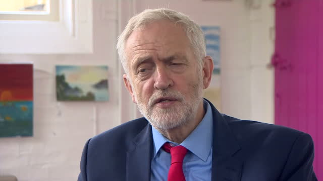 interview grab with labour leader jeremy corbyn remarking on the government's brexit negotiations in shipley west yorkshire on 12th october 2017 - west yorkshire stock-videos und b-roll-filmmaterial