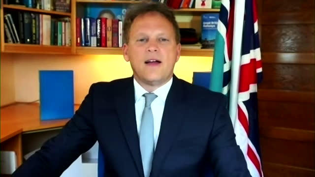 """interview grant shapps, transport secretary, about people travelling to uk from eu and usa no longer needing to quarantine during coronavirus... - """"bbc news"""" stock videos & royalty-free footage"""