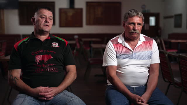 """interview jake wyatt and nigel evans, former miners, about the gleision colliery disaster in 2011 in the swansea valley, in which they survived, bit... - """"bbc news"""" stock videos & royalty-free footage"""