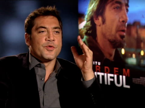Javier Bardem on the relationships of the characters in the story at the INTERVIEW Biutiful at London England