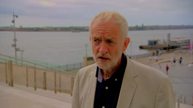 interview jeremy corbyn labour leader in liverpool about boris johnson's promise of extra police officers it isn't just police that solve crime - bonding stock videos & royalty-free footage
