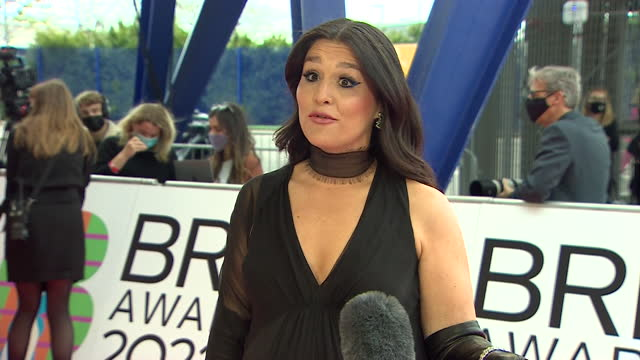 interview jessie ware, singer, on the red carpet at brit awards 2021, about being nominated for two awards - presentation stock videos & royalty-free footage