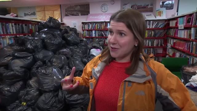 """interview jo swinson, liberal democrat leader, in stainforth, doncaster, about floods affecting the area """"it's wrong that it's just down to the local... - british liberal democratic party stock videos & royalty-free footage"""