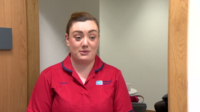 """interview joanna sloan, royal victoria hospital belfast, about first day of covid-19 vaccine roll out """"the health service has struggled throughout... - day 1 stock videos & royalty-free footage"""