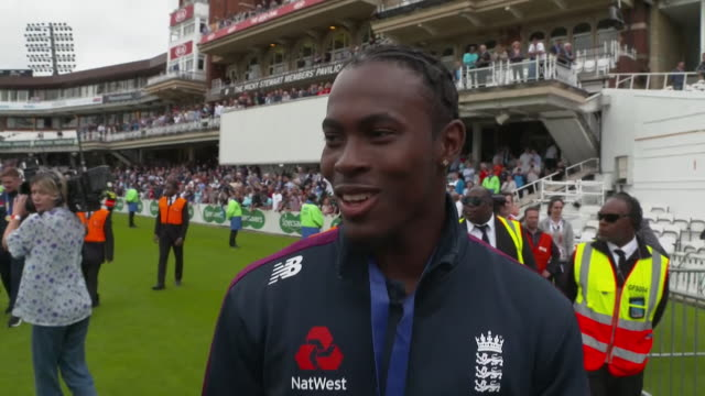interview jofra archer england cricketer on winning the world cup final great team effort i think it means more to these people than to us and that's... - cricket stock videos & royalty-free footage