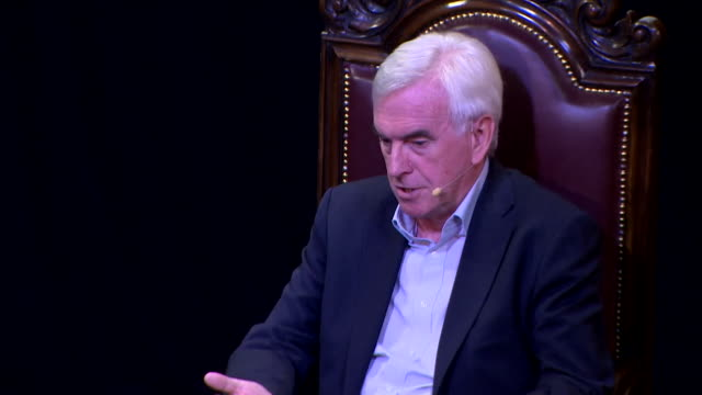 interview john mcdonnell mp shadow chancellor speaking at edinburgh fringe festival it's unnecessary to have a scottish referendum but we won't use... - john mcdonnell politician videos stock videos & royalty-free footage