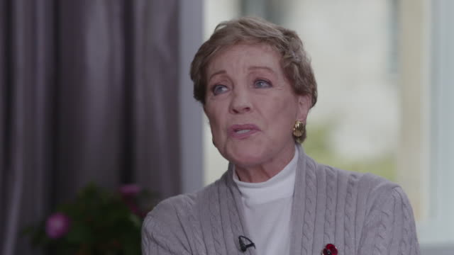 """interview julie andrews, actress, talks about what home means to her """"is it my acting, the theatre, my singing, my family? obviously it is all of... - domestic life stock videos & royalty-free footage"""