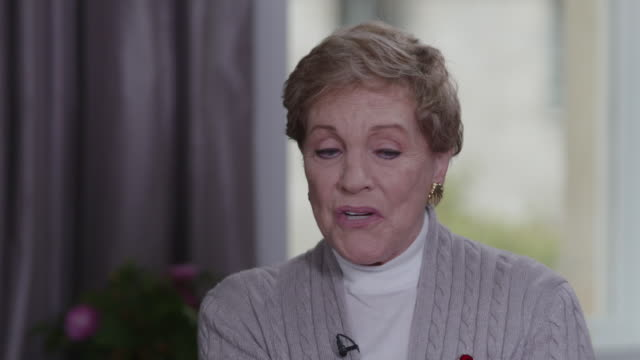 interview julie andrews, talks about walt disney asking her to be in mary poppins, when she was pregnant - video stock videos & royalty-free footage