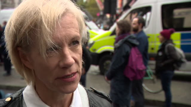 """interview juliet stevenson, actor, at extinction rebellion climate change protest in london """"this is movement for everybody, not about politics or... - juliet stevenson stock videos & royalty-free footage"""