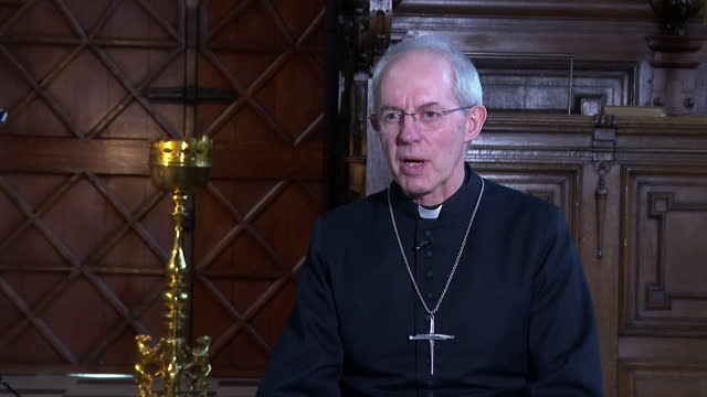 interview justin welby, archbishop of canterbury, following duke of edinburgh's death, about how forward thinking he was, especially on environmental... - intelligence stock videos & royalty-free footage