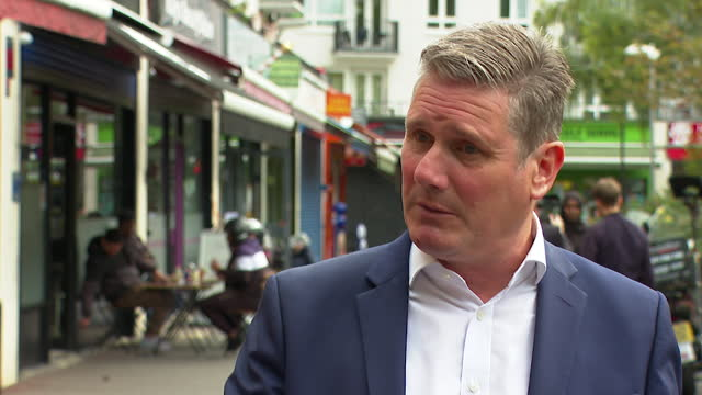 """interview keir starmer, labour leader, about covid-19 vaccine passports and where and how they should be used - """"bbc news"""" stock videos & royalty-free footage"""