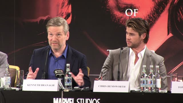 kenneth branagh talks about drawing on and soliciting advice from fellow directors before chris hemsworth talks about the possible avengers influence... - eventuell stock-videos und b-roll-filmmaterial