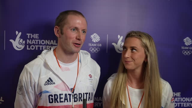 interview laura and jason kenny, olympic cyclists, at team gb homecoming event, about being in a bubble at the tokyo olympics and being lovely to... - bubble stock videos & royalty-free footage