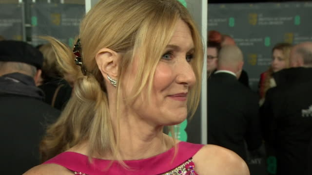 interview laura dern on red carpet at bafta film awards 2020, speaks about being nominated for marriage story - celebrities stock videos & royalty-free footage