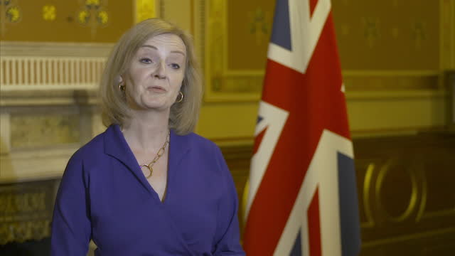 """interview liz truss, foreign secretary, about cabinet reshuffle """"the prime minister has put in place a strong united team, we are determined to... - """"bbc news"""" stock videos & royalty-free footage"""