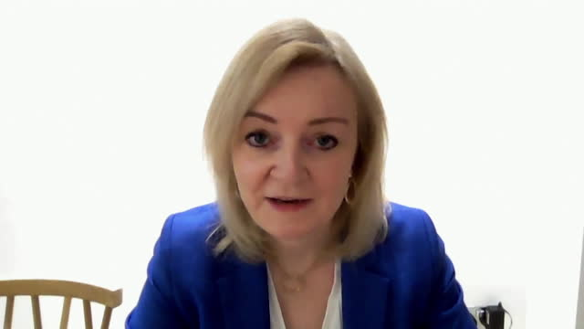 interview liz truss, internation trade secretary, on andrew marr, about possibility of uk sharing extra supplies of covid-19 vaccine with developing... - sharing stock videos & royalty-free footage