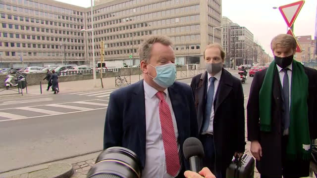 """interview lord david frost, uk chief brexit negotiator, upon arrival in brussels for post brexit trade talks with eu """"we are working very hard to get... - """"bbc news"""" stock videos & royalty-free footage"""