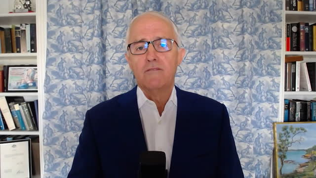 """interview malcolm turnbull, former prime minister of australia, about australia's trade deal with the eu """"our relationship with the eu from a trade... - australian politics stock videos & royalty-free footage"""