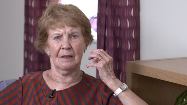 interview margaret keenan, the first person in the world to receive the covid-19 vaccine, encourages other people to have the vaccine - b roll stock videos & royalty-free footage