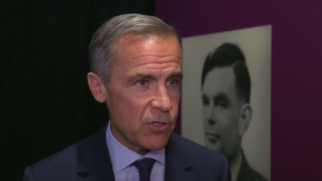 """stockvideo's en b-roll-footage met interview mark carney, bank of england governor, about alan turing being on the fifty pound banknote """"virtually everything we use today is derived... - alan turing"""
