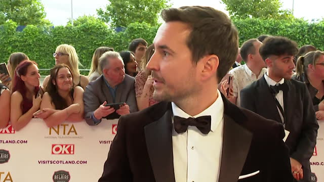 """interview martin compston, on red carpet at nta awards 2021, with wife tianna chanel flynn, about success of line of duty - """"bbc news"""" stock videos & royalty-free footage"""