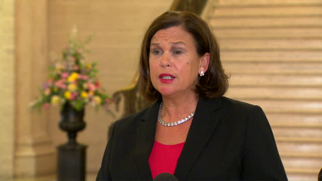 """interview mary-lou macdonald, sinn fein president, about dup leader, sir jeffrey donaldson, suggestion that the party could leave the power sharing... - """"bbc news"""" stock videos & royalty-free footage"""