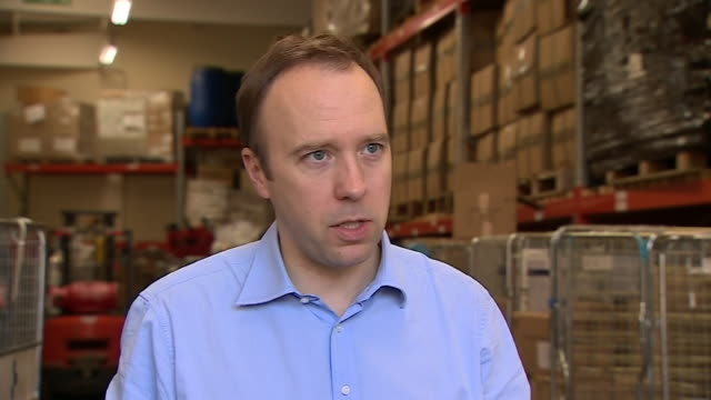 """interview matt hancock mp, health secretary, about ppe personal protective equipment getting to hospitals """"there have been challenges, but we are on... - protective workwear stock videos & royalty-free footage"""