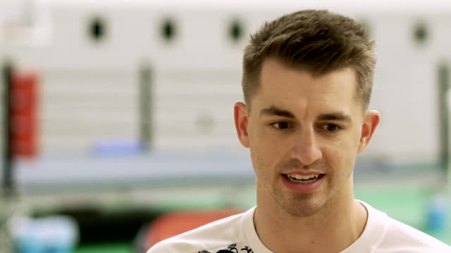 """interview max whitlock, double olympic champion, still excited by the tokyo olympics, despite there being no audiences due to coronavirus pandemic - """"bbc news"""" stock videos & royalty-free footage"""