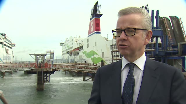 interview michael gove mp regarding importing goods post brexit we're doing everything we can to make sure traffic continues to flow we're seeking to... - michael gove stock-videos und b-roll-filmmaterial