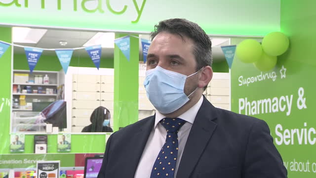 "interview michael henry, healthcare director, superdrug, about superdrug pharmacy in guildford being one of the first pharmacies to provide the... - ""bbc news"" stock videos & royalty-free footage"