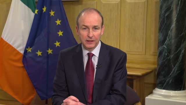 interview michael martin, irish taoiseach, on andrew marr, about eu threatening to trigger northern ireland protocol over covid-19 vaccine supply... - ominous stock videos & royalty-free footage