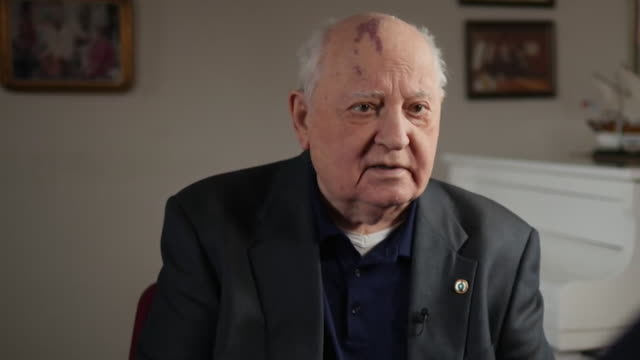 """interview mikhail gorbachev former leader of the soviet union on why they didn't stop the fall of the berlin wall we couldn't allow that over an... - """"bbc news"""" stock-videos und b-roll-filmmaterial"""