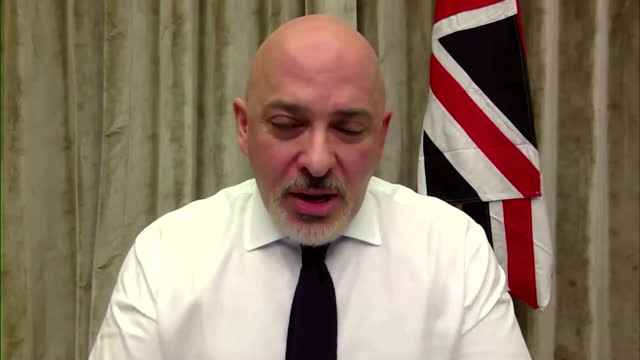 interview nadhim zahawi, vaccines minister, about trials to see whether giving people different covid vaccines for their first and second dose works... - mixing stock videos & royalty-free footage