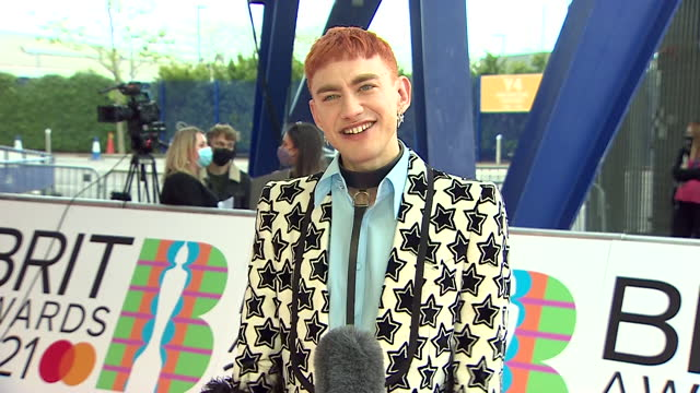 interview olly alexander, aka years and years, singer and actor, about performing with elton john at brit awards 2021 - performing arts event stock videos & royalty-free footage