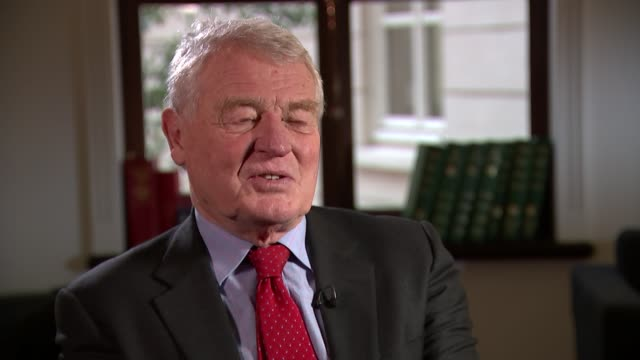 interview paddy ashdown on election polls and eu renegotiation england london westminster int lord ashdown interview re general election polls and eu... - paddy ashdown stock-videos und b-roll-filmmaterial