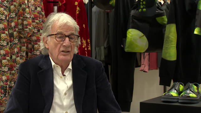 interview paul smith, designer, voiceover with gvs of shop talks about the effects of brexit on his business and thinking about moving out of the uk - design professional stock videos & royalty-free footage
