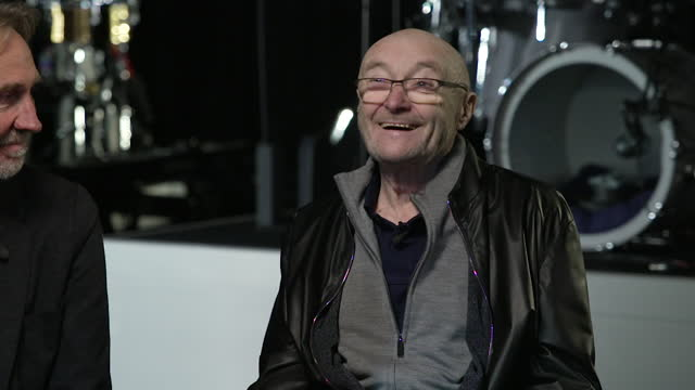 """interview phil collins, genesis, about expecting it to be a temporary job when he first joined the band in 1970 """"i thought i'd get ten quid a week... - """"bbc news"""" stock videos & royalty-free footage"""