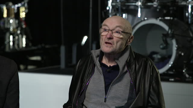 """interview phil collins, genesis, about going back on tour and how it will probably be their last one - """"bbc news"""" stock videos & royalty-free footage"""