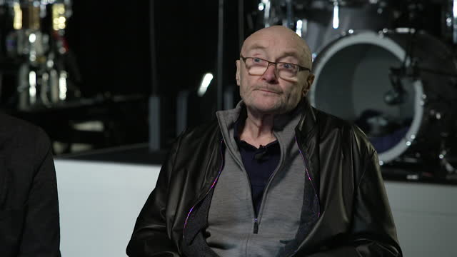 """interview phil collins, genesis, about physical and health challenges that will prevent him from drumming on the new uk tour - """"bbc news"""" stock videos & royalty-free footage"""