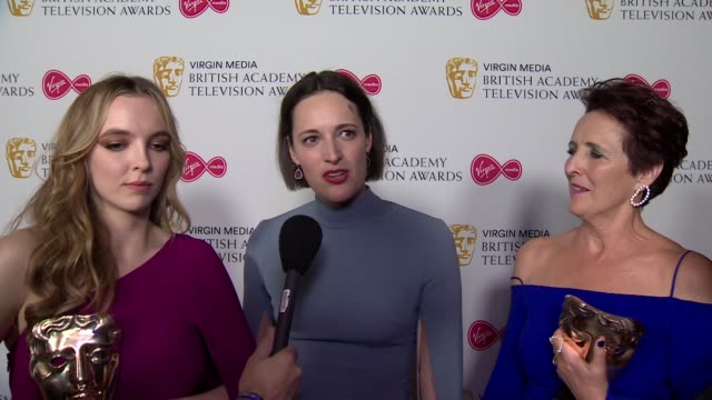 interview phoebe wallerbridge at the 2019 tv bafta's speaks about why winning awards for killing eve matters - news not politics stock videos & royalty-free footage