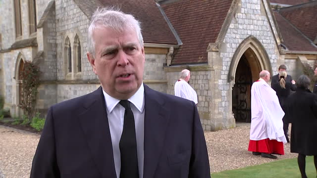 """interview prince andrew, following the death of duke of edinburgh, about what he was like as a father """"a remarkable man, i loved him as a father"""" - """"bbc news"""" stock videos & royalty-free footage"""
