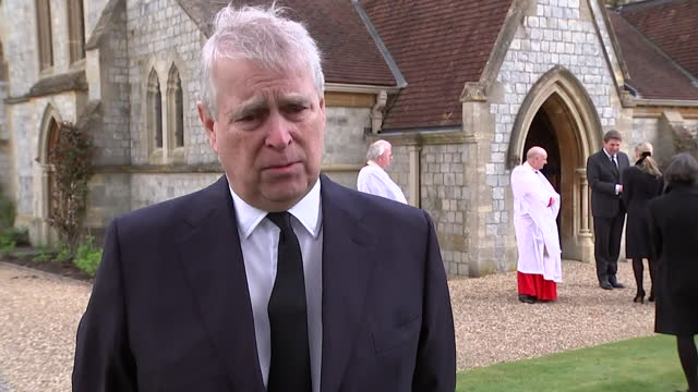 """interview prince andrew, praises the tributes he has seen since the death of his father duke of edinburgh - """"bbc news"""" stock videos & royalty-free footage"""