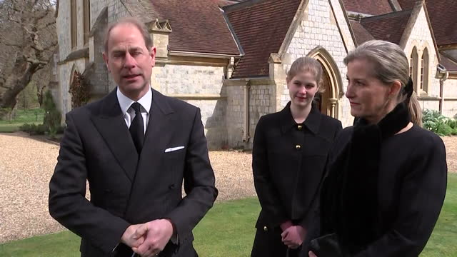 """interview prince edward, following the death of his father duke of edinburgh, about what he meant to people who worked on the royal estates - """"bbc news"""" stock videos & royalty-free footage"""