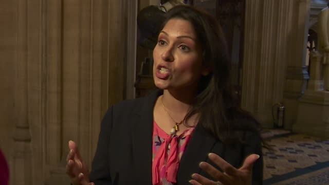 interview priti patel about boris johnson as a conservative leadership contender it's a strong result and shows how he has united our party - priti patel stock-videos und b-roll-filmmaterial