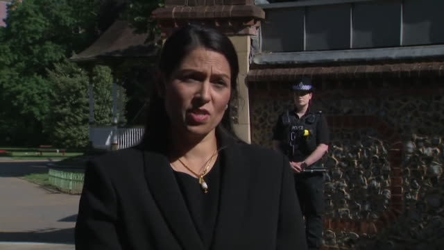 interview priti patel, home secretary, about the investigation into khairi saadallah, who was arrested for the murder of three men in forbury... - crime and murder stock videos & royalty-free footage
